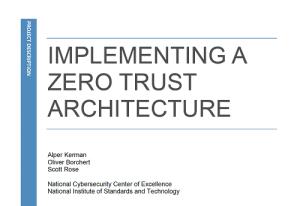 Implementing a Zero Trust Architecture