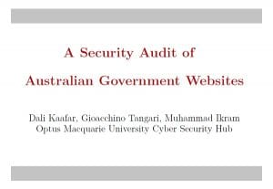 A Security Audit of Australian Government Websites